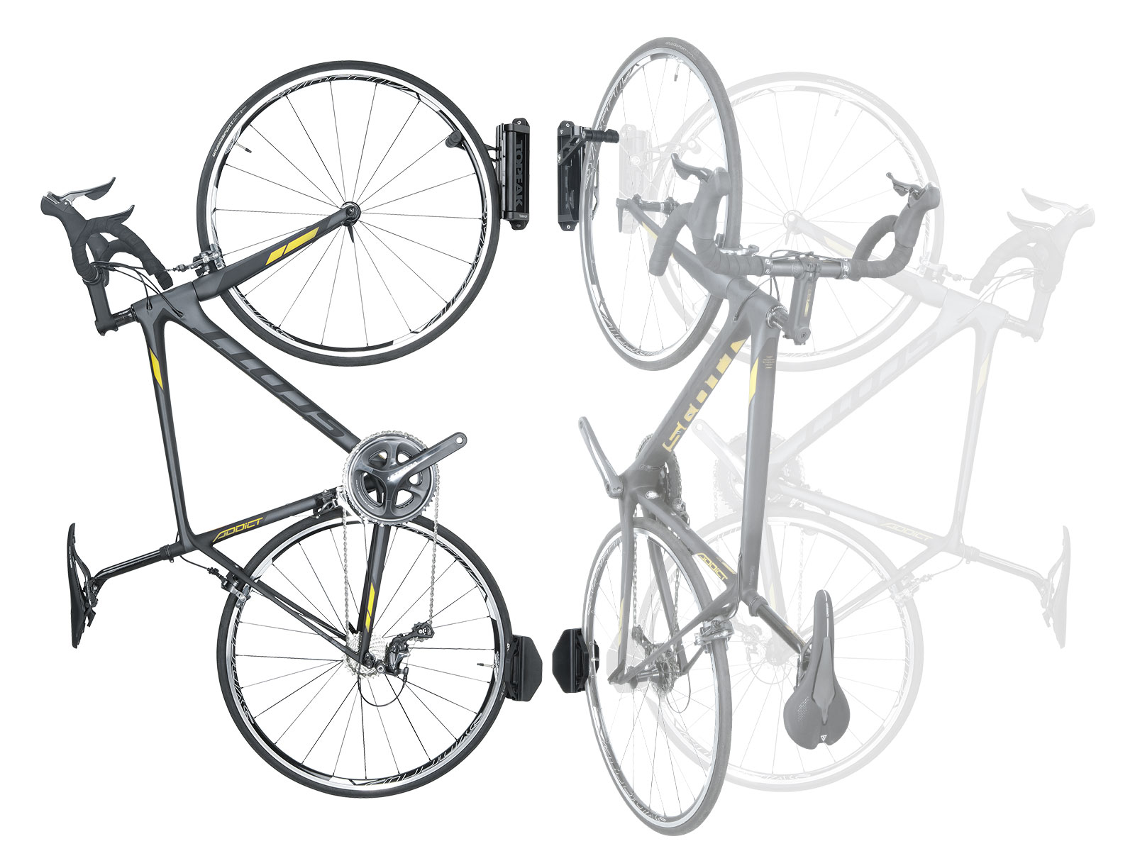 Black-Single Bike Wall Mount Holder Topeak Turn-Up Bike Holder
